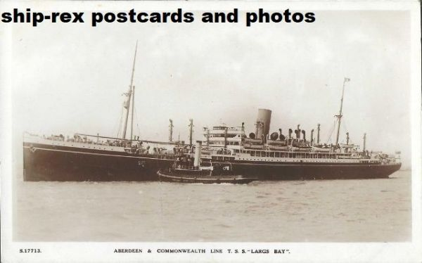 LARGS BAY (Aberdeen & Commonwealth Line) postcard